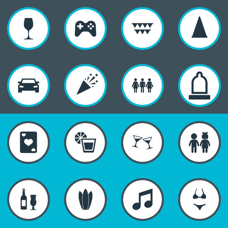Vector Illustration Set Of Simple Banquet Icons. Elements Cocktail, Poker, Guest And Other Synonyms Bikini, Note And Flags. Stock Photo