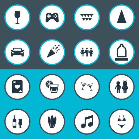 Vectorillustratiereeks Eenvoudige Banketpictogrammen. Elements Cocktail, Poker, Gast en andere synoniemenbikini, noot en vlaggen. Stockfoto