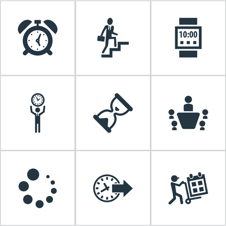 Vector Illustration Set Of Simple Management Icons. Elements Clock, Hourglass, Teamwork And Other Synonyms Ladder, Waiting And Grade.