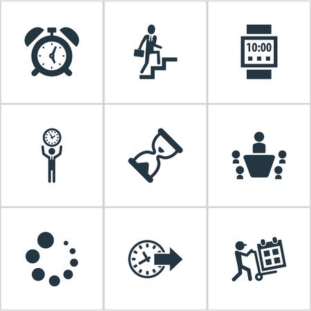 Vectorillustratiereeks Eenvoudige Beheerpictogrammen. Elementen klok, zandloper, teamwork en andere synoniemenladder, wachten en rang.