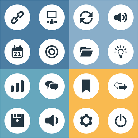 Vector Illustration Set Of Simple Practice Icons. Elements Megaphone, Diskette, Server And Other Synonyms Cogwheel, Bar And Setting.