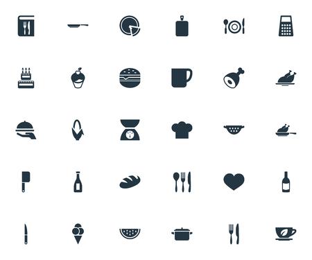 Ilustración vectorial Conjunto de iconos de cocina simple. Pasión de los elementos, taza, sartén y otra carne de los sinónimos, a base de hierbas y cumpleaños. Foto de archivo - 87382632