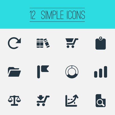 Vector Illustration Set Of Simple Investment Icons. Elements Pennant, Growing Sales, Circle Diagram And Other Synonyms Balance, Magnification And Circle.