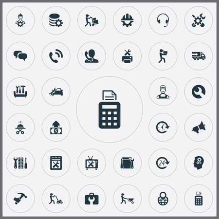 Vector Illustration Set Of Simple Support Icons. Elements Mechanism, Tools, Engineering And Other Synonyms Cycle, Call And Repairing. Stock Photo