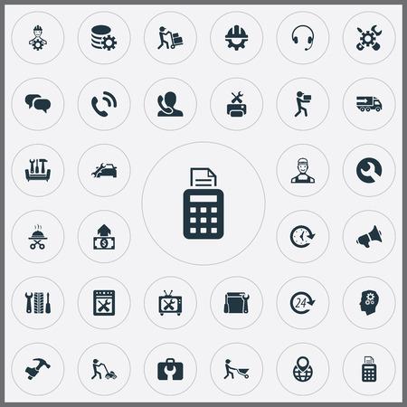 Vector illustratie Set van eenvoudige ondersteuning iconen. Elementen Mechanisme, Tools, Engineering en Andere synoniemen Cyclus, Oproep en Herstel. Stockfoto