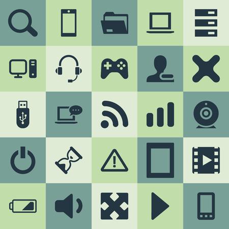 Vector illustratie Set van eenvoudige apparaatpictogrammen. Elementen Telefoon, rustig geluid, begin en andere synoniemen Smartphone, Palmtop en film. Stockfoto