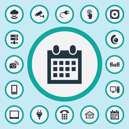 Vector Illustration Set Of Simple Smart Icons. Elements Smartphone, Socket, Touchpad And Other Synonyms Cloud, Desktop And Tablet.
