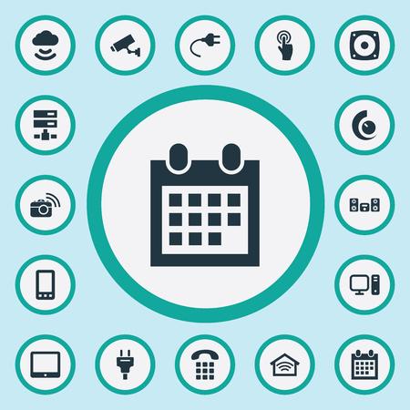 Vector illustratie Set van eenvoudige slimme pictogrammen. Elementen Smartphone, Socket, Touchpad en andere synoniemen Cloud, Desktop en Tablet. Stockfoto