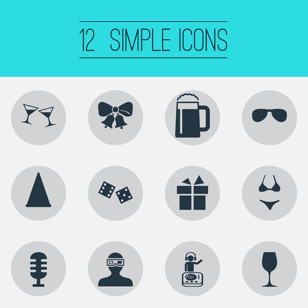 Vector Illustration Set Of Simple Banquet Icons. Elements Spectacles, Mic, Dj And Other Synonyms Mug, Glasses And Summer.