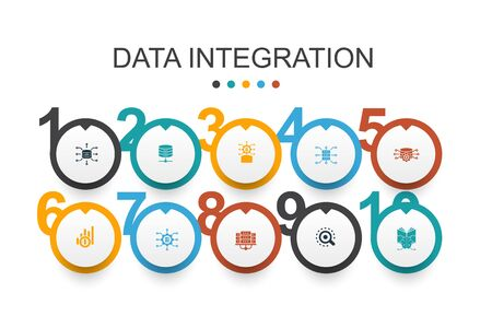 Data integration Infographic design template database, data scientist, Analytics, Machine Learning simple icons
