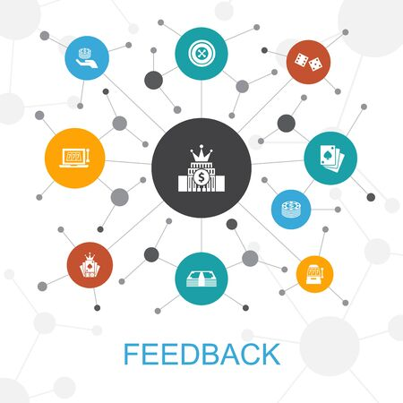 feedback trendy web concept with icons. Contains such icons as survey, opinion, comment, response