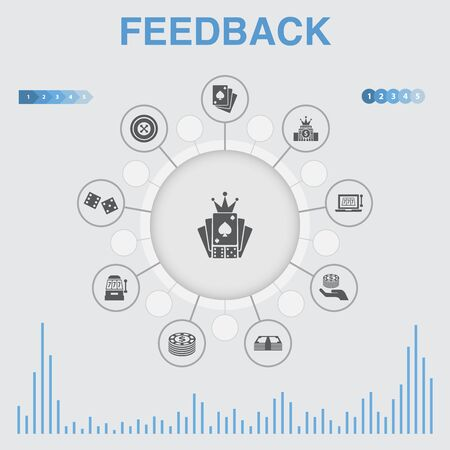 feedback infographic with icons. Contains such icons as survey, opinion, comment, response Çizim