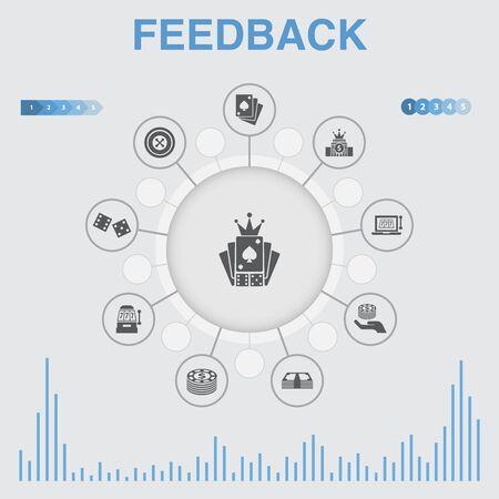 infografía de retroalimentación con iconos. Contiene iconos como encuesta, opinión, comentario, respuesta