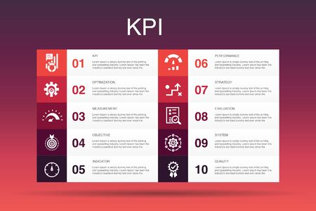 KPI Infographic 10 option template.optimization, objective, measurement, indicator simple icons