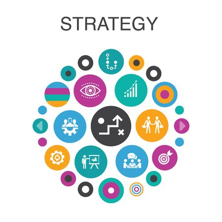 Strategy Infographic circle concept. Smart UI elements goal, growth, process, teamwork Ilustração