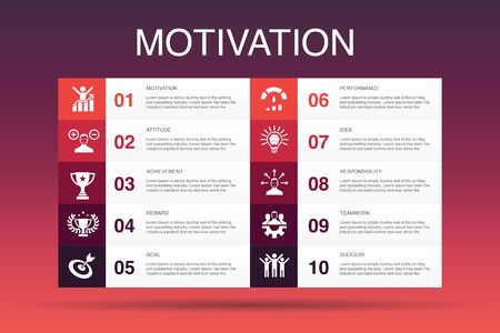 motivation Infographic 10 option template.goal, performance, achievement, success simple icons
