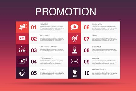 Promotion Infographic 10 option template.advertising, sales, lead conversion, attract simple icons