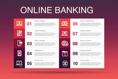 online banking Infographic 10 option template.funds transfer, mobile banking, online transaction, digital money simple icons
