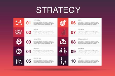 Strategy Infographic 10 option template.goal, growth, process, teamwork simple icons