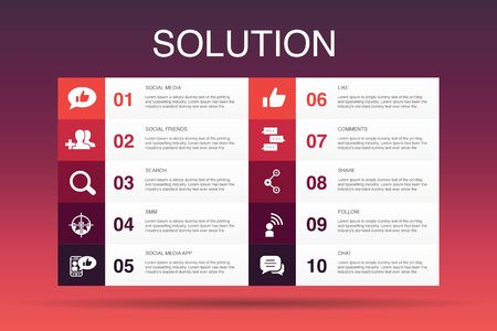 Solution Infographic 10 option template.strategy, plan, execution, timetable simple icons Stockfoto - 132043411