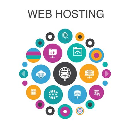 web hosting Infographic circle concept. Smart UI elements Domain Name, Bandwidth, Database, internet  イラスト・ベクター素材
