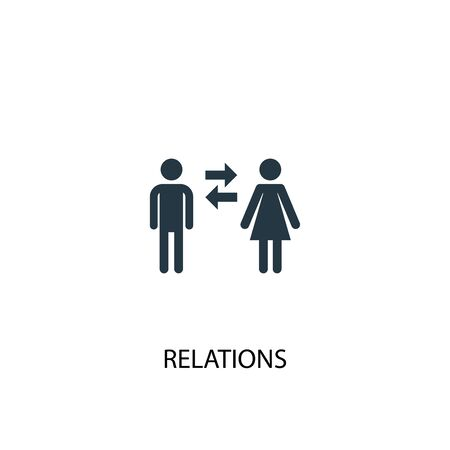 relations icon. Simple element illustration. relations concept symbol design. Can be used for web and mobile. Banco de Imagens - 131377909