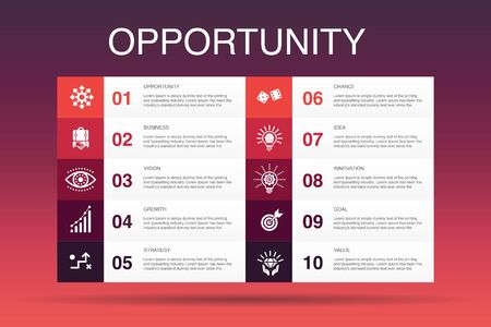 opportunity Infographic 10 option template.chance, business, idea, innovation simple icons