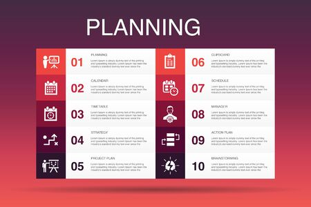 planning Infographic 10 option template.calendar, schedule, timetable, Action Plan simple icons