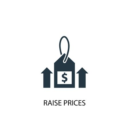 Raise prices icon. Simple element illustration. Raise prices concept symbol design. Can be used for web and mobile. Ilustração