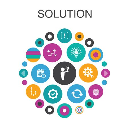 Solution Infographic circle concept. Smart UI elements strategy, plan, execution, timetable Stockfoto - 132349324