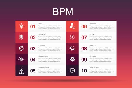 BPM Infographic 10 option template.business, process, management, organization simple icons