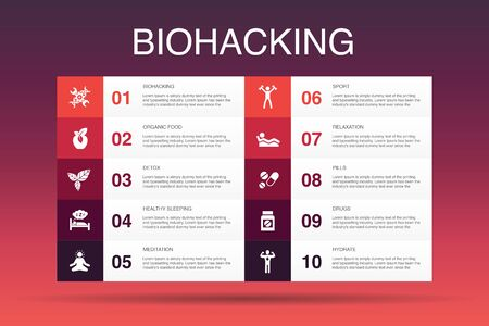 biohacking Infographic 10 option template.organic food, healthy sleeping, meditation, drugs simple icons Illustration
