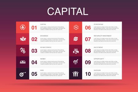 capital Infographic 10 option template.dividends, money, investment, success simple icons
