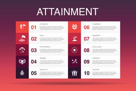 attainment Infographic 10 option template.goal, leadership, objective, teamwork simple icons
