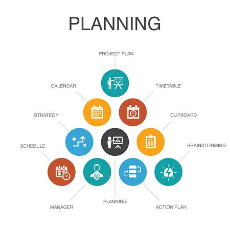 planning Infographic 10 steps concept.calendar, schedule, timetable, Action Plan simple icons