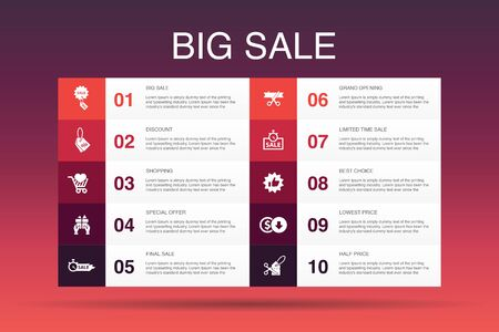 big sale Infographic 10 option template.discount, shopping, special offer, best choice simple icons