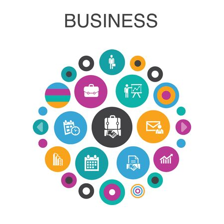 Business Infographic circle concept. Smart UI elements businessman, briefcase, calendar, chart