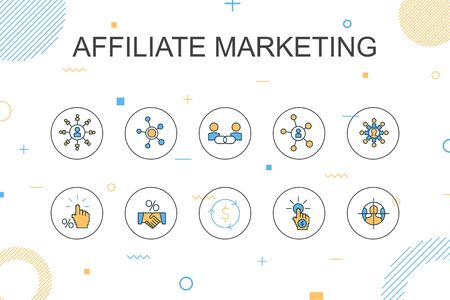 affiliate marketing trendy Infographic template. Thin line design with Affiliate Link, Commission, Conversion, Cost per Click Illusztráció