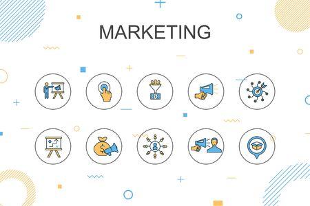 marketing plantilla de infografía de moda. Diseño de línea delgada con llamado a la acción, promoción, plan de marketing, estrategia de marketing. Ilustración de vector