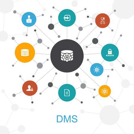 DMS trendy web concept with icons. Contains such icons as system, management, privacy, password