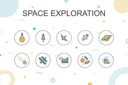 space exploration trendy Infographic template. Thin line design with rocket, spaceship, astronaut, planet 向量圖像