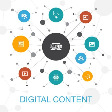 digitale inhoud trendy webconcept met pictogrammen. Bevat iconen als vectorafbeelding, media, video, sociale inhoud