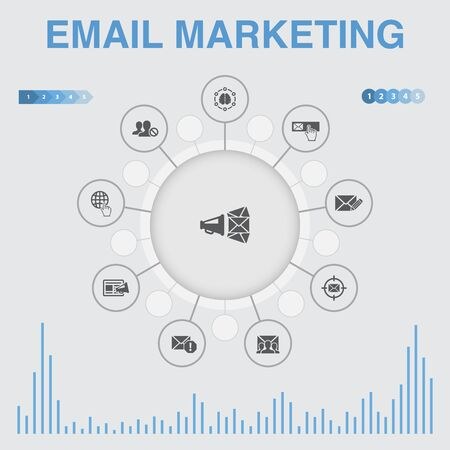 Email Marketing infographic with icons. Contains such icons as subscribe, compose mail, Blacklist, internet Illusztráció