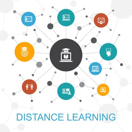 Distance Learning trendy web concept with icons. Contains such icons as online education, webinar, learning process, video course