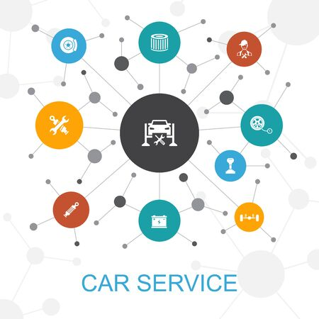 Car service trendy web concept with icons. Contains such icons as disk brake, suspension, spare parts, Transmission Ilustração