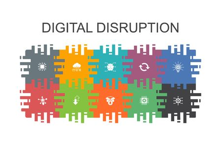 digital disruption cartoon template with flat elements. Contains such icons as technology, innovation, IOT, digitization icons