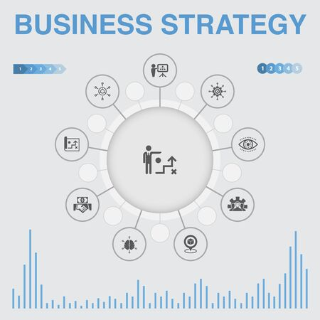 Business strategy infographic with icons. Contains such icons as planning, business model, vision, development Stock Illustratie