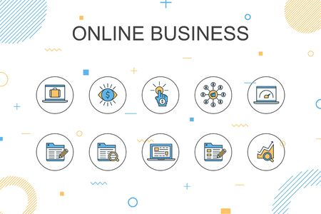 Online Businesstrendy Infographic template. Thin line design with pay per view, Bandwidth, landing page, SEO  イラスト・ベクター素材