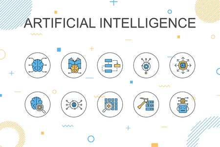 Artificial Intelligence trendy Infographic template. Thin line design with Machine learning, Algorithm, Deep learning, Neural network