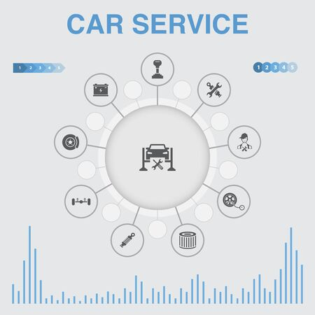 Car service infographic with icons. Contains such icons as disk brake, suspension, spare parts, Transmission Ilustração